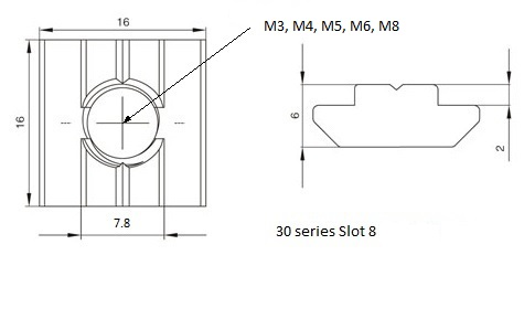 slider nut 3030 slot-8 drawings